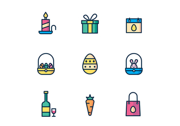 Easter Icons on White Background - vector #432607 gratis