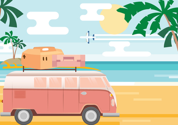 Beach Vacation Vector - бесплатный vector #432627
