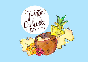 Tropical Pina Colada Drink With Splash Vector - Free vector #432647
