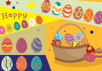 Funky Easter Egg Poster with Basket Vector - Free vector #432657