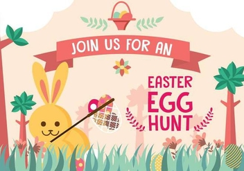 Easter Egg Hunt Invitation Background Vector - vector gratuit #432707