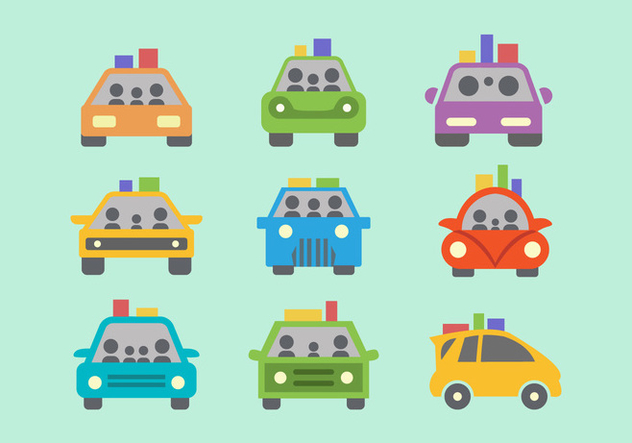 Colorful Carpool Flat Vector - vector gratuit #432807