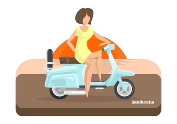 Lambretta Sunset with Rider Illustration - Free vector #432887