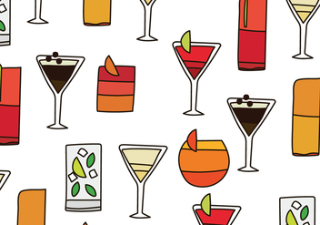 Cocktails Pattern - vector gratuit #433037