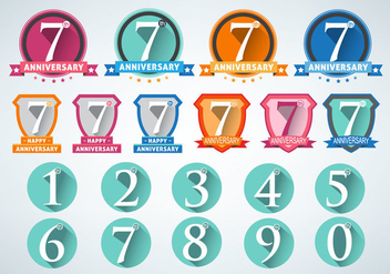 Anniversary Numbers Design Vector Set - бесплатный vector #433087