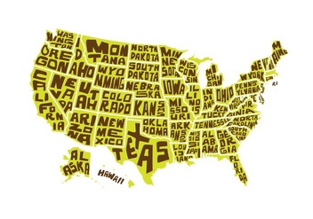 Free USA Word Map Vector - бесплатный vector #433097