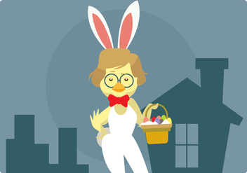 Hipster Easter Chick With Bunny Costume Vector - Free vector #433157