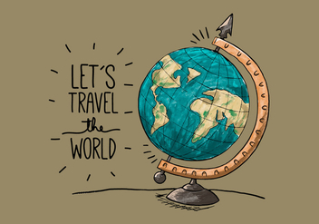 Vintage Earth Globe With Quote Travel - vector gratuit #433187