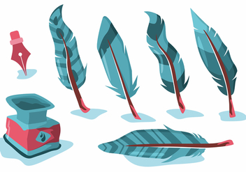 Blue Feather Pluma Vector Set - Free vector #433227