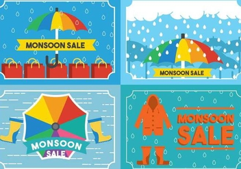 Monsoon Card Vector Set - Kostenloses vector #433247