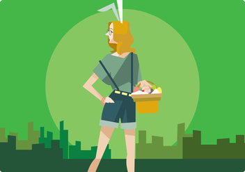 Hipster Girl With Easter Egg Basket Vector - Free vector #433257