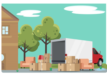 Home Relocation With Moving Van Vector Illustration - Free vector #433287