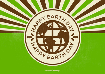 Retro Happy Earth Day Illustration - vector gratuit #433367