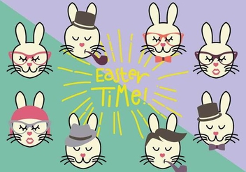 Group of Hipster Bunny Vectors - Free vector #433397
