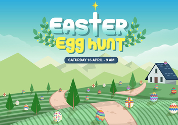 Farmyard Easter Egg Hunt Vector Illustration - бесплатный vector #433447