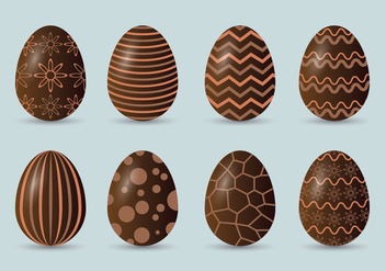 Chocolate Easter Eggs Icons Set - Free vector #433467