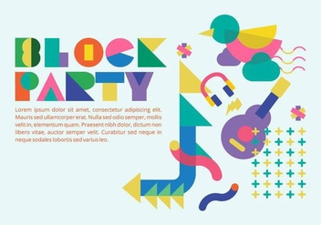 80s Style Block Party Background Vector - Free vector #433497