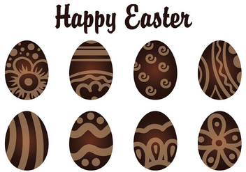 Decorative Chocolate Easter Eggs - vector gratuit #433507