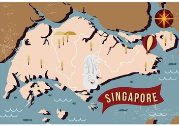 Vintage Singapore Map - Kostenloses vector #433527