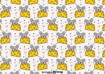 Doodle Mouse And Cheese Vector Pattern - Free vector #433547