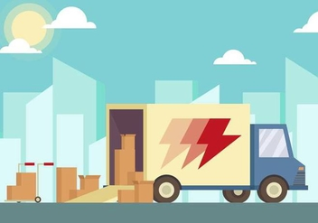 Moving Van Illustration Vector - Free vector #433587