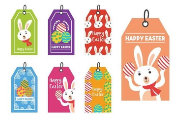 Easter gift tag vector set - Free vector #433607