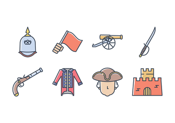 Colonial Army Icon Set - Free vector #433657