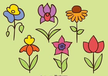 Hand Drawn Flowers Collection Vectors - Free vector #433747