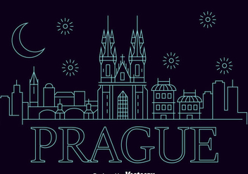 Prague City Skyline Vector - бесплатный vector #433817