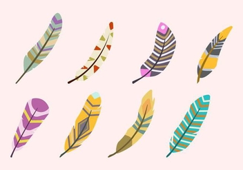 Flat Feather Vectors - Kostenloses vector #433847