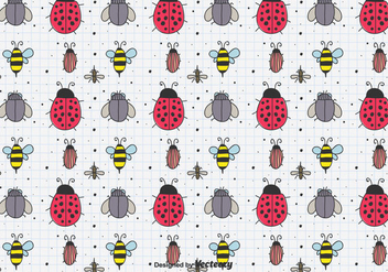 Hand Drawn Insects Pattern - Free vector #433867