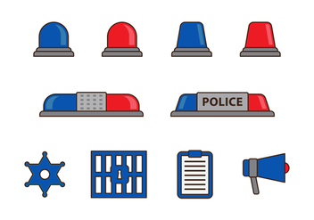 Free Police Lights and Items Vector - vector gratuit #433907
