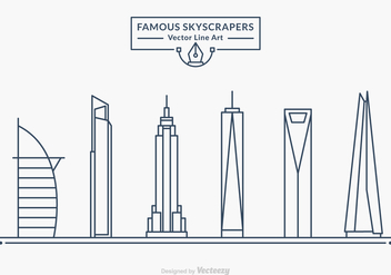 Free Famous Skyscrapers Vector Line Art - бесплатный vector #433997