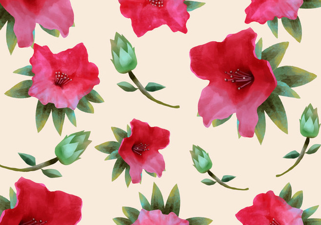 Pink Rhododendron Watercolor Seamless Pattern - Free vector #434037