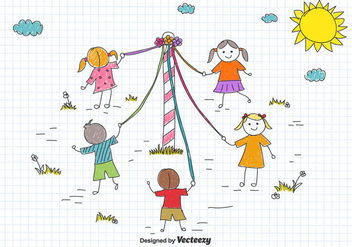 Maypole Children's Drawing Vector - Free vector #434127