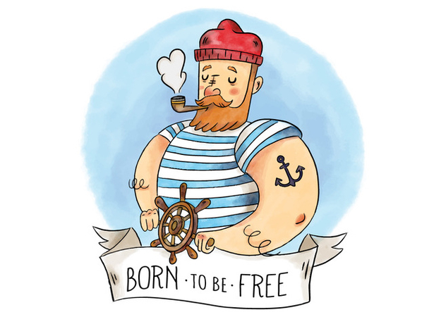 Cute Sailor Man With Pipe Rudder And Ribbon With Quote - vector gratuit #434157