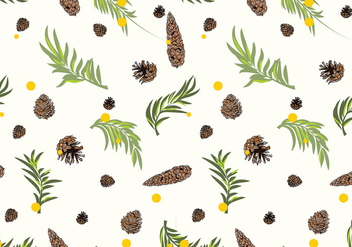 Pine Cones Pattern White Free Vector - vector gratuit #434177