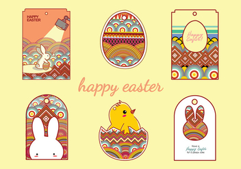 Easter Gift Tag Cartoon Free Vector - vector #434187 gratis