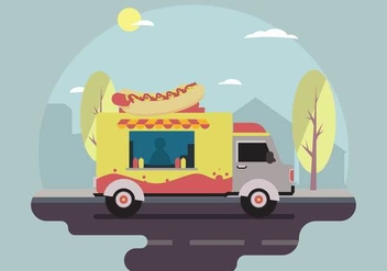 Free Hot dog Food Truck Vector Scene - vector gratuit #434227