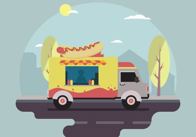 Free Hot dog Food Truck Vector Scene - Kostenloses vector #434227