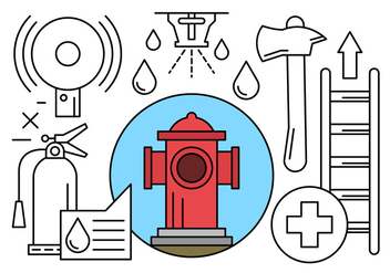 Firefighter and Fire Department Icons in Vector - бесплатный vector #434587