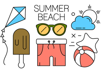Minimal Designed Summer Beach Icons - vector gratuit #434607