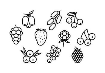 Free Berries Line Icon Vector - Kostenloses vector #434707