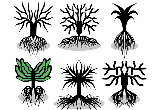 Tree With Roots Vector Set - Free vector #434757