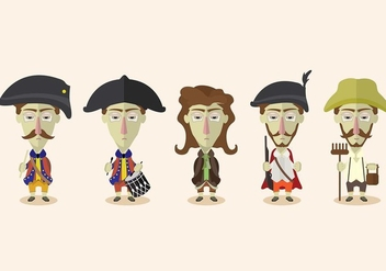 Colonial People Vector Set - vector gratuit #434857