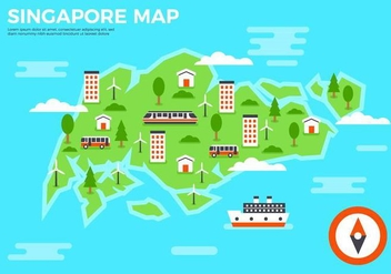 Free Flat SIngapore Map Vector - vector gratuit #434867