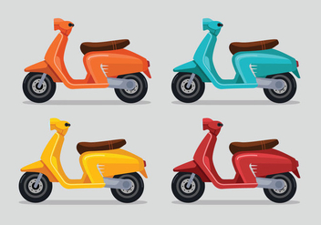 Set Of Multicolored Lambretta Scooter - vector gratuit #434997