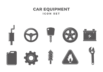 Car Equipment Icon Set Free Vector - vector gratuit #435007