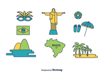 Brazil Icons Set - vector gratuit #435037