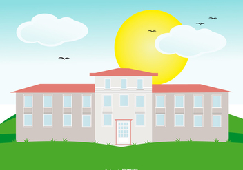 Colonial House on Landscape - vector #435197 gratis